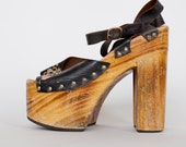 RESERVE FOR  Addie Lou  till  this Friday the 3rd          70's leather wood platforms size 9
