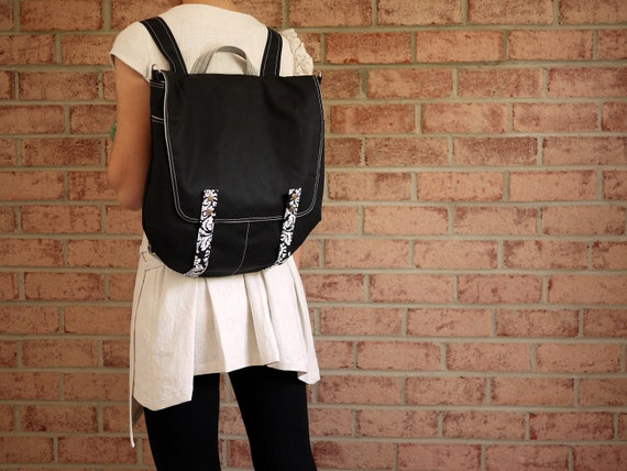 Waxed Canvas Backpack Messenger in Black- 2 in 1 Vegan Rucksack Back to School/ Limited Edition