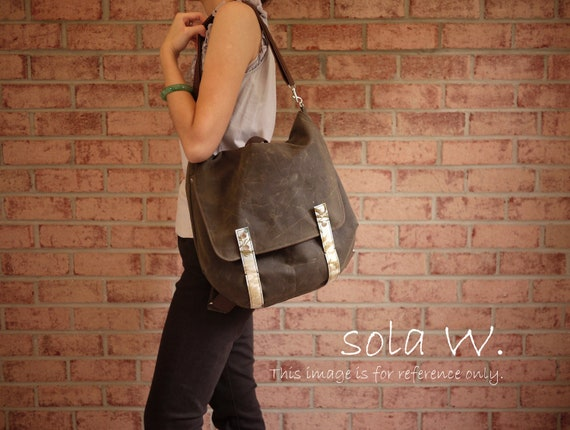 Waxed Canvas Backpack Messenger in Olive Brown - 2 in 1 Vegan Padded Rucksack Back to School