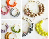 Fall Colors Beaded Hoops Earrings. Everyday Earrings.Bridesmaids Favors. Sale. Gift for her. Birthday Gift. Holiday Gifts. Autumn. Bohemian
