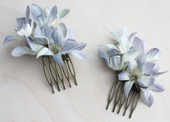 Blue Flowers Petite Hair Comb Set. Weddings. Spring, Summer, Bridal Headpiece, Fashion. Floral Hair Pin, Wedding. Rustic