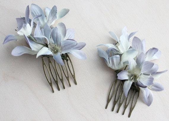 Blue Flowers Petite Hair Comb Set. Weddings. Spring, Summer, Bridal Headpiece, Fashion. Floral Hair Pin, Wedding. Rustic