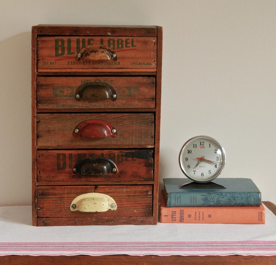 Multi drawer desk organizer from repurposed vintage by - Wooden desk organizer with drawers ...