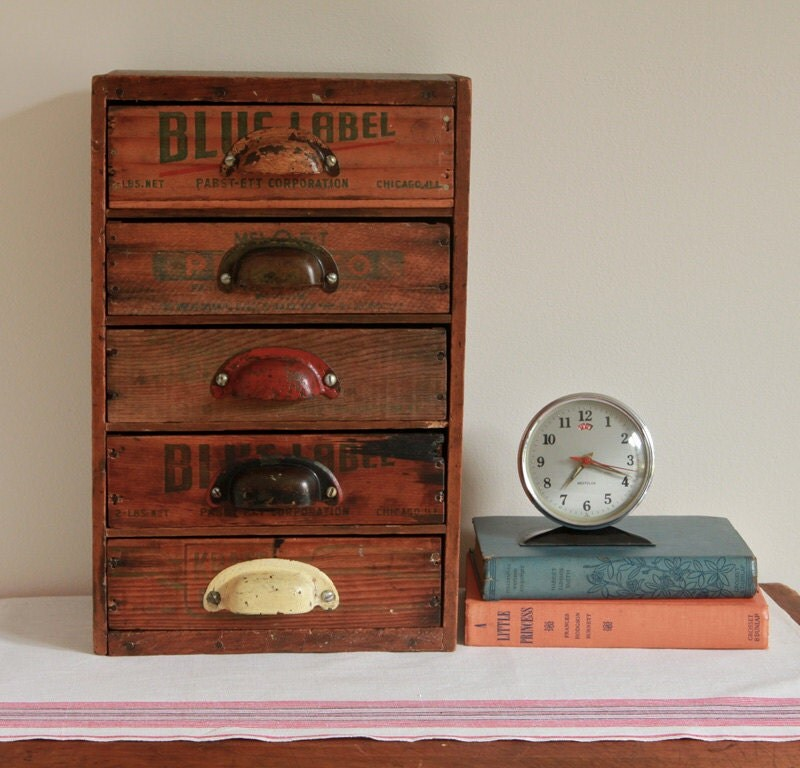 Multi Drawer Desk Organizer From Repurposed Vintage Cheese