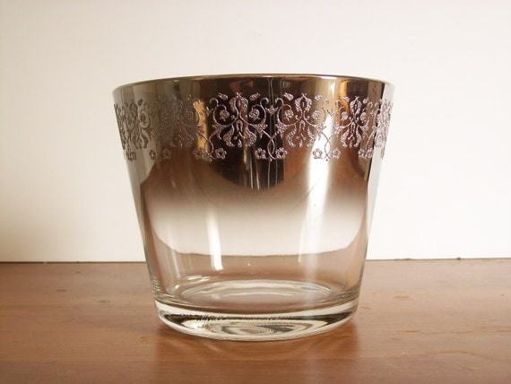 RESERVED FOR KIM.     Silver Ombre Ice Bucket, Mad Men Style, Mid Century