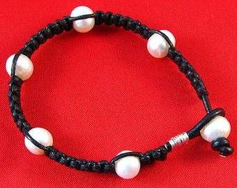 Black Macrame Freshwater Pearl Bracelet