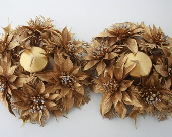 Mid Century Retro Gold Plastic Candle Holder Wreaths
