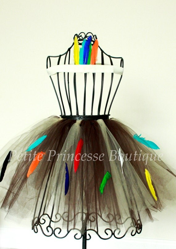 Indian Tutu. Pocahontas. Brown. Feathers. Matching Headband. Halloween. Pocahontas Inspired Tutu. Dress Up. Baby 12-18 months
