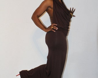 Dress, brown sexy sassy with a cowl neck multi wear. Long brown dress good for clubbing: Natural born confidence.