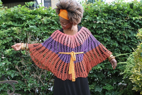 Crochet Poncho / lacey top tri-color (if worn with the belt).Vintage look Colours are pink, purple n rust. 100% bamboo yarn: Roots.