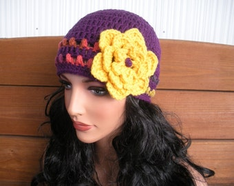 Crochet Hat Womens Hat Winter Fashion Accessories Women Beanie Hat Cloche Dark Purple Hat with Yellow Crochet flower
