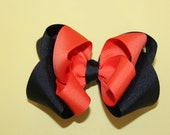Halloween Double Layered Hair Bow - Black and Orange