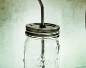 Mason Jar Glass with Stainless Steel Straw