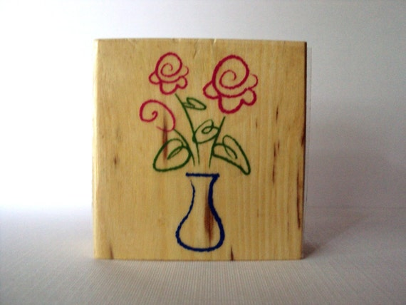 Flowers in a Vase Wooden Mounted Rubber Stamping Block DIY cards, scrapbooking, and tags