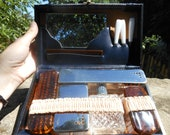Vintage French Men's Toiletry Kit Bag with complete set of accessories