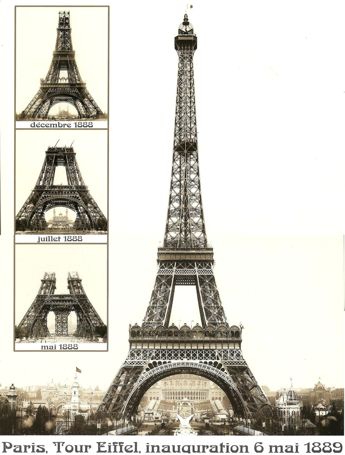 Antique French Advertising Print Eiffel Tower Construction