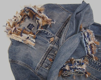 Denim Jacket Women Upcycled Rag/Knot Yarn Collar and Cuffs Size Large Bust 39-40 Blues and Browns Free form Knitting Fall Outerwear