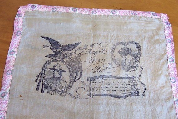 WWI Handkerchief Military Memorabilia Collectible Silk Hanky 1910's era