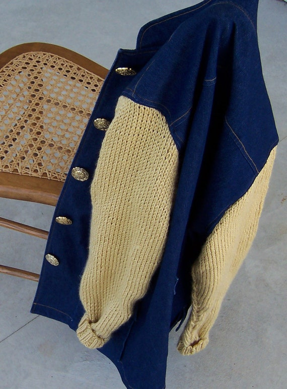 Denim Jacket Sweater Sleeves Urban Style Size Medium Bust 38 Pale Gold Uptown Casual Great Button Detail