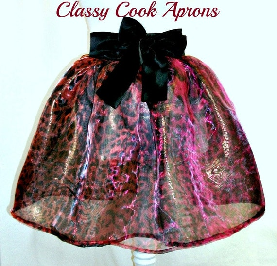 Half Apron SHEER Ombré LEOPARD Organza, Black Red Bronze Iiridescent, COUTURE Noir, Cocktail Party, Sexy Hostess Gift
