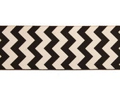 "1.5"" Chevron Pattern on Black Grosgrain Ribbon 10 yards"