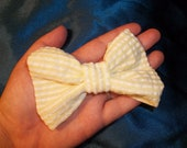 White and Yellow Seersucker Hair Bow