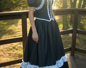 Stunning Denim Ballroom Gown---Southern Bell Style---Three Piece Set Includes Bustier, Jacket and Skirt---Made To Order