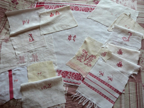 16 monograms hand monogrammed initials, French linens, made of sheets pillow cases, damask linen napkin, red embroidery , supply patchwork