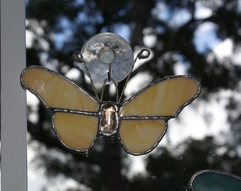 """Amber and White Opalescent Glass Butterfly 5"""" x 3.5"""" Suncatcher with Oval Gem Center and Handcrafted Antennae"""