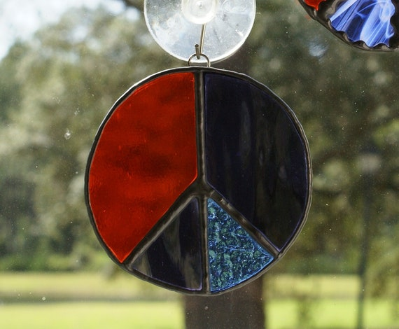Peace Symbol Suncatcher - Orange, Grape, Blue - Authentic Stained Glass - Number 2