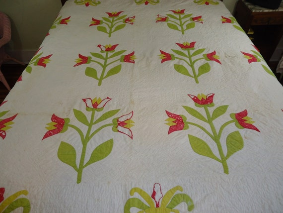 Red and green vintage tulip quilt handmade and appliqued