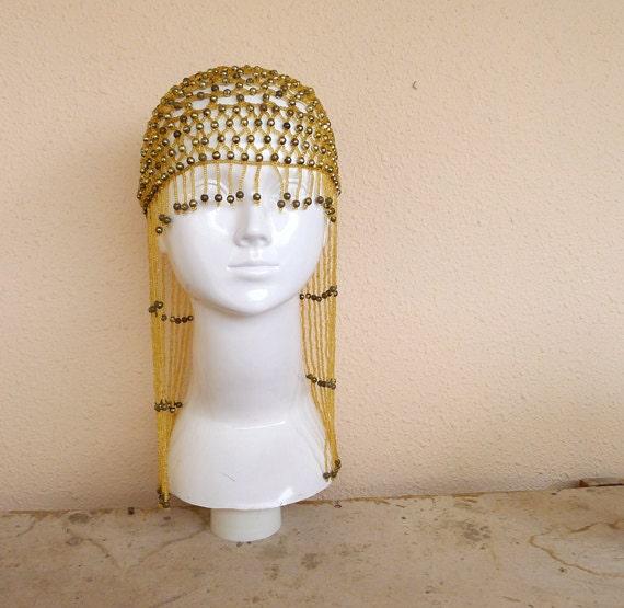 Vintage Egyptian Queen Beaded Headpiece