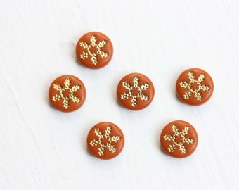 Orange Flower Cabochons, Round Cabochons, Small Cabochons, Star Cabochons (6x)