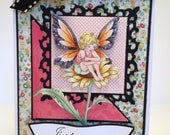 Sparkling Fairy Just Sittin' Here Thinking of You Handmade Card