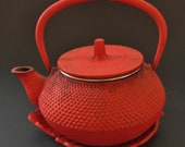Vintage Red Cast Iron One Cup Tea Kettle