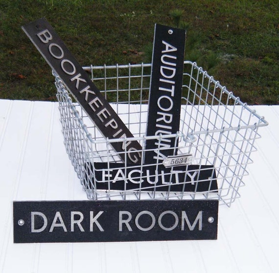 CYBER MONDAY -  Vintage Aluminum School Signs