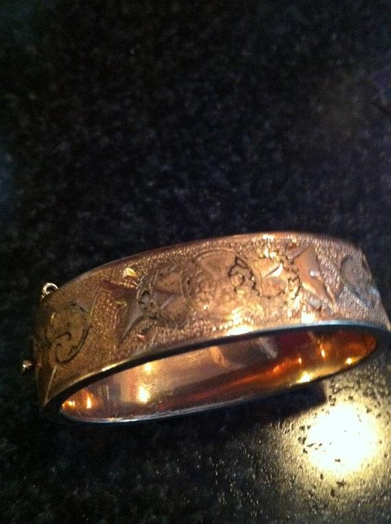 Estate Antique Vintage ornate Gold Filled Bangle Bracelet saftey chain