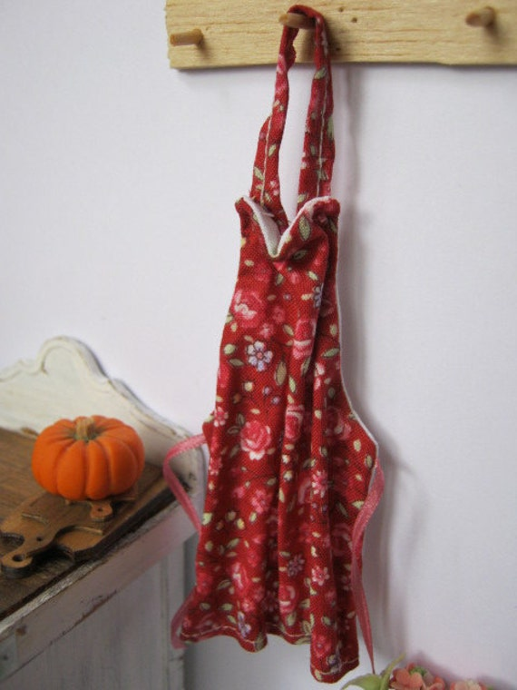 Red Floral Dollhouse Apron