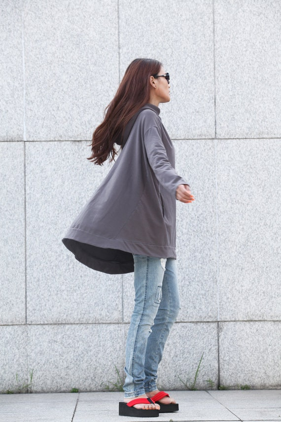Hoodie Cape Top Hooded Cotton Blouse Top in Dark Grey for Women - NC370