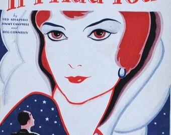 Roaring Twenties Flapper Art to Frame, Redhead London Fox Trot Vintage Sheet Music