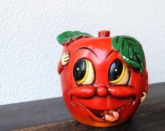 Old Coin Bank, Rare Anthropomorphic Apple Sonsco Money Piggy Bank Vintage Chalkware Collectible, 1950s Japan