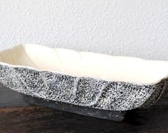 Vintage Lane & Co Black White Splatter Planter Box, 1950s Van Nuys California Art Pottery