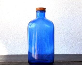 Old Cobalt Blue Glass Medicine Bottle, Metal Screw Cap, Rustic Industrial Drug Store Collectible Decor