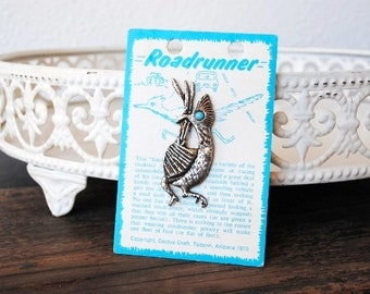 Vintage Arizona Souvenir Pin, Silver Roadrunner Quirky Bird Cactus Craft Brooch, Turquoise Stone Eye