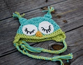 Crochet Owl Hat for baby boys in soft blue and green - SALE