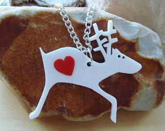 Alan the Reindeer necklace with an extra coloured heart