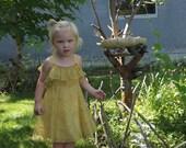 Antique Girls Yellow Frilly Organdy Dress