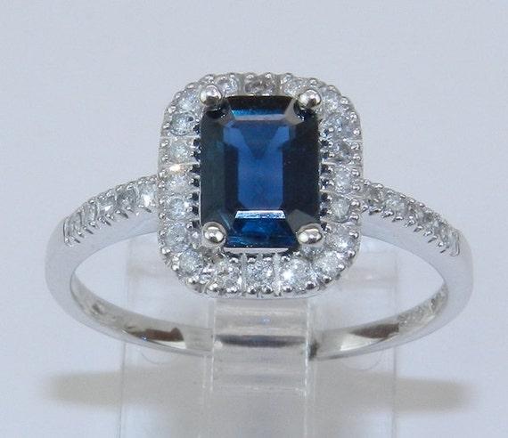 14K White Gold Diamond & Emerald-Cut Sapphire Halo Engagement Style Ring