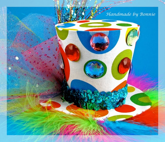 Rainbow Tiny Top Hat - Mini Top Hat - Spotted and Sparkled