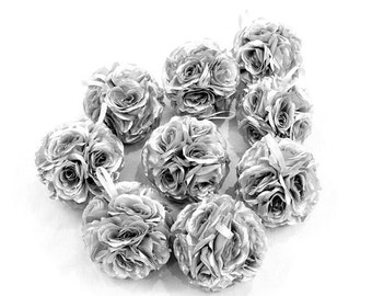 "7"" Silver Silk Rose Kissing Pomander Balls Pom Poms  for Wedding Centerpieces Party Floral Decorations"